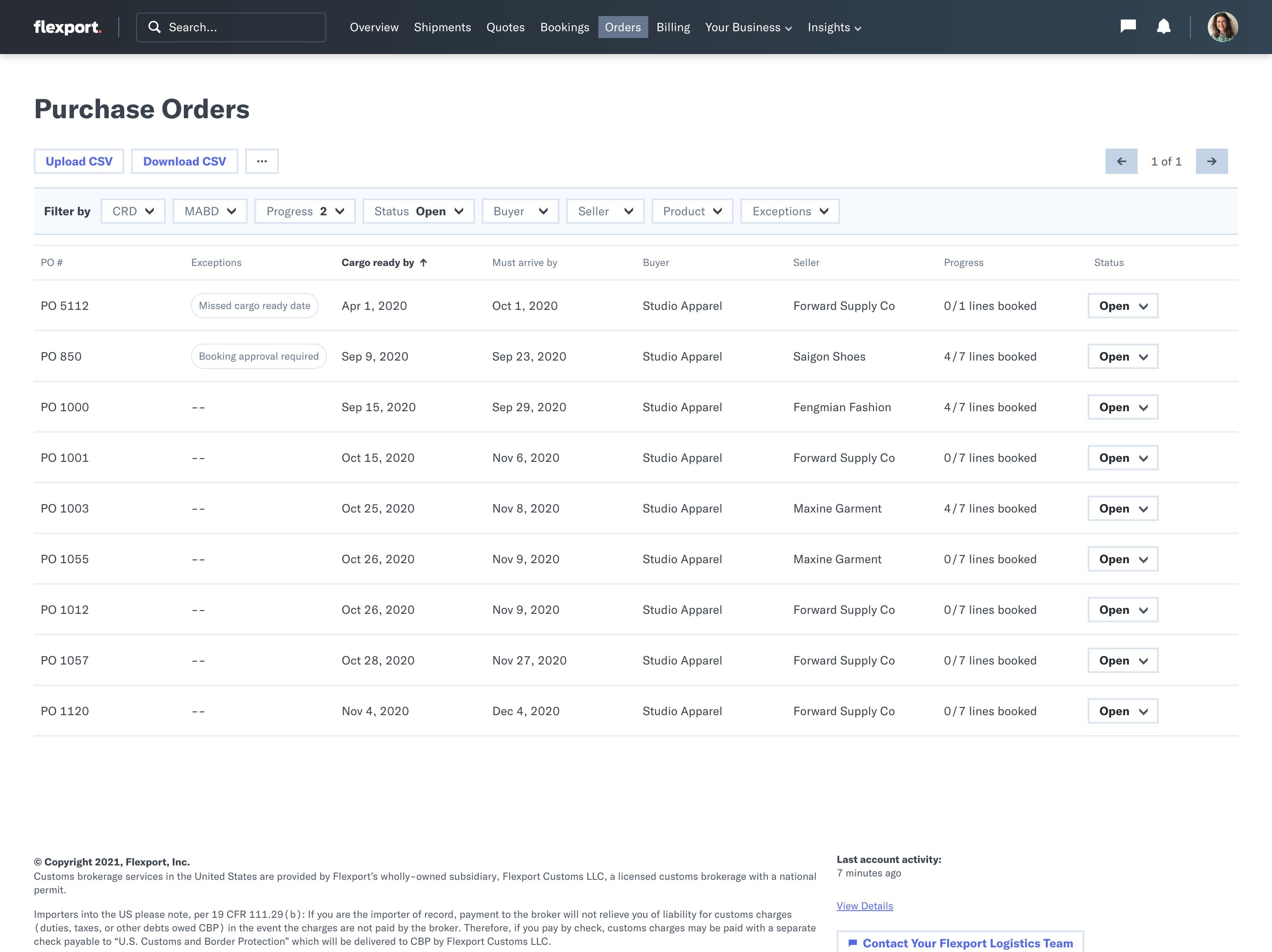 Order-Management Flexport