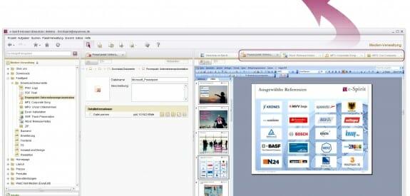 Mit dem so genannten AppCenter hat e-Spirit eine universelle Infrastruktur zur Einbindung beliebiger Web- und Desktop-Anwendungen in das CMS geschaffen. Durch die Integration stehen die gewohnte Oberfläche und die Funktionen der externen Applikationen direkt im CMS zur Verfügung.