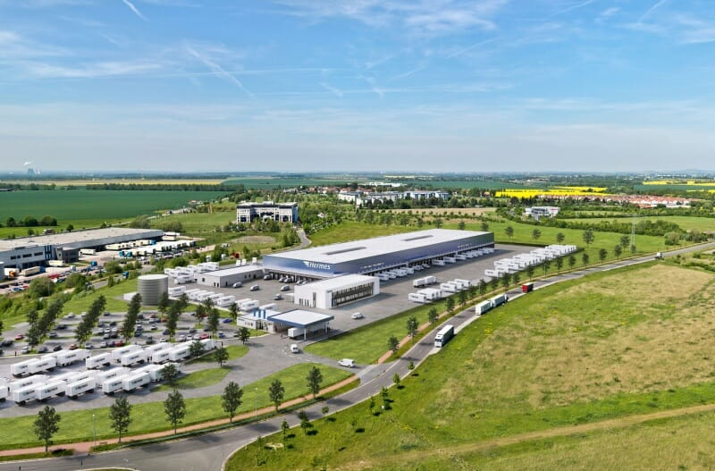 Hermes-Logistik-Center visualisiert.
