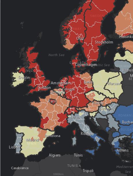 Karte Verteilung des Online-Shoppings in Europa